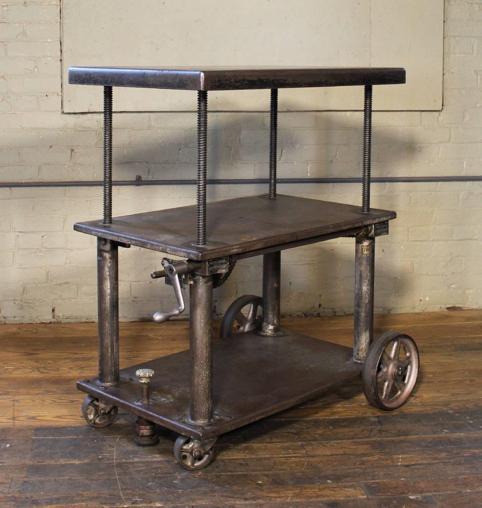 Bar Cart, Rolling Table Vintage Industrial Adjustable