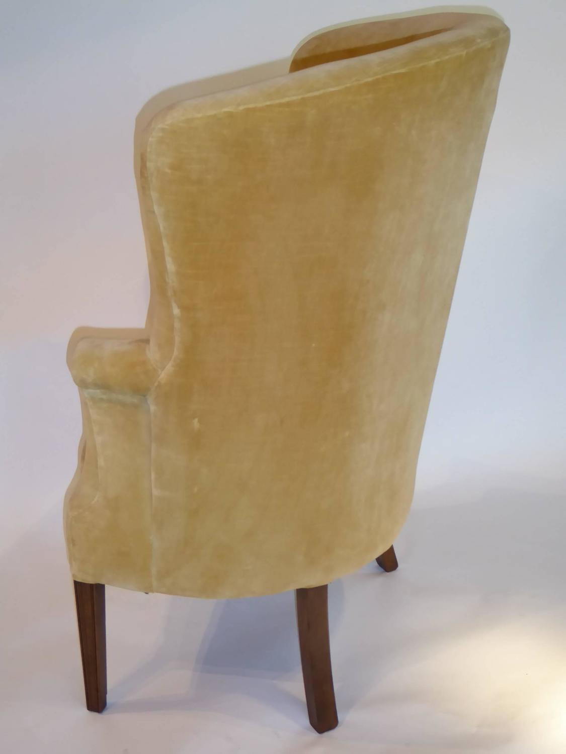 high back velvet chair diy folding covers architectural tufted wingback for