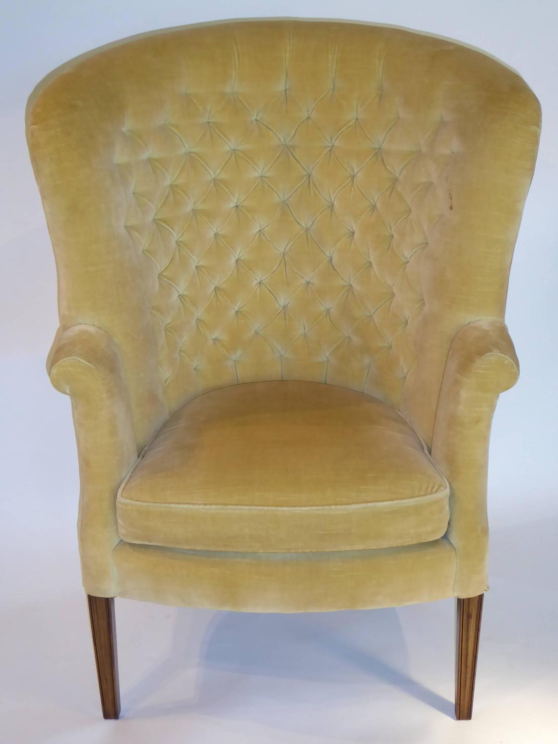high back velvet chair ottoman architectural tufted wingback for