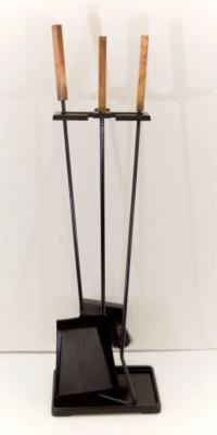 Brass and Black Enamel Mid-Century Fireplace Tools at 1stdibs