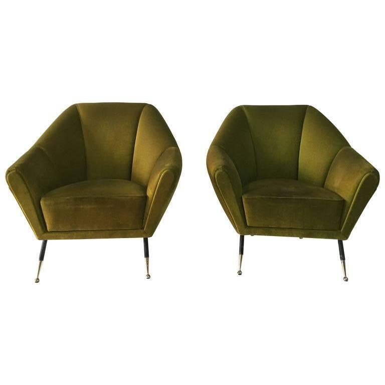 reupholster chair cost plastic garden covers vintage green velvet geometrical-shaped italian sofa at 1stdibs