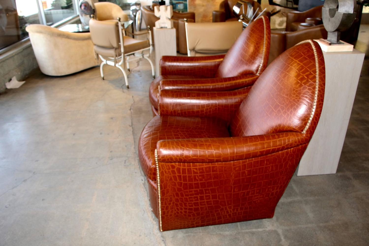 leather chairs of bath london slipcover for oversized chair mimi gothic in edelman jumbo croc