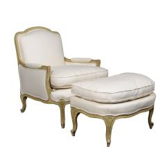 French Bergere Chair Dildo Rocking Louis Xv And Ottoman From The 18th Century Reupholstered For Sale At 1stdibs