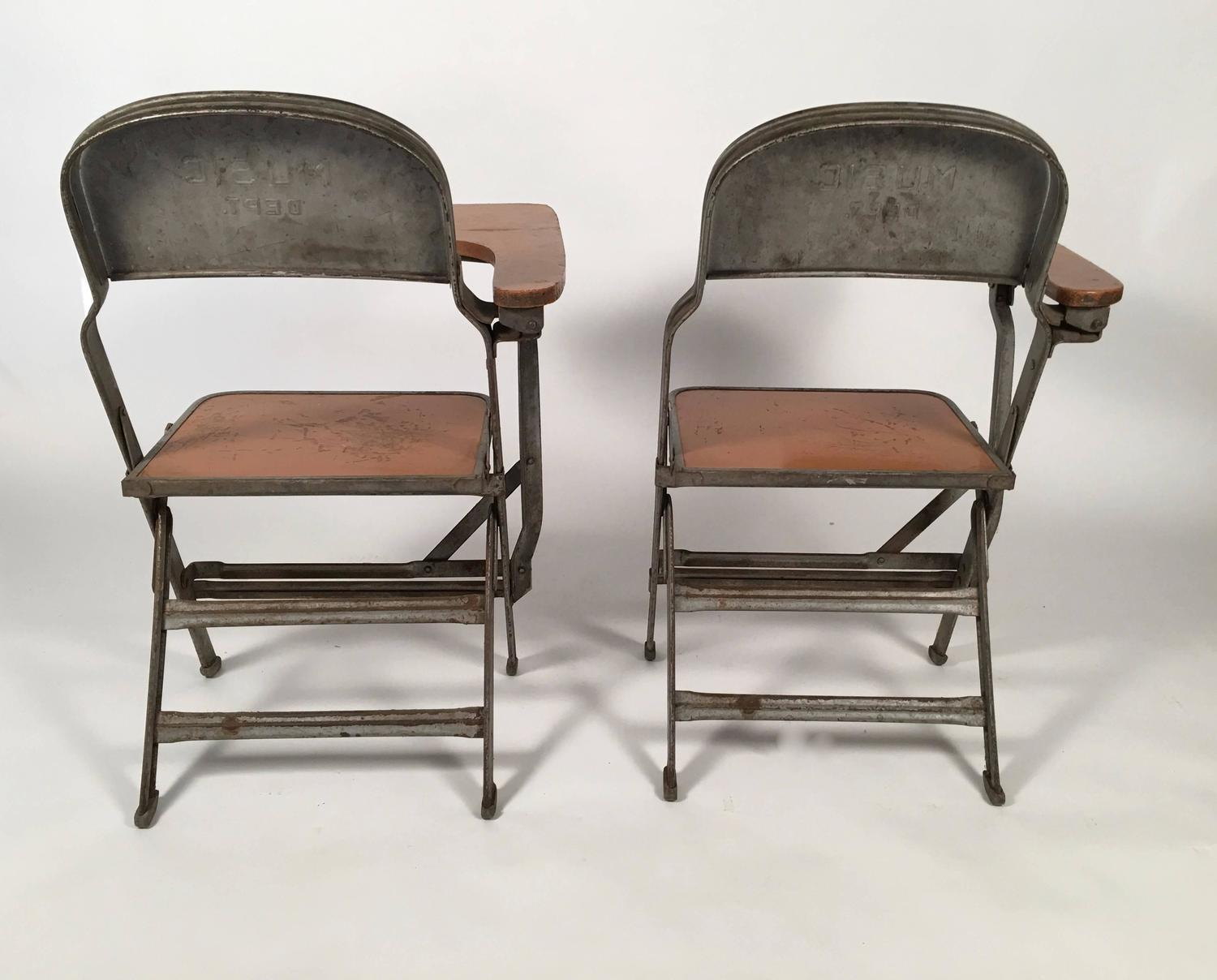 folding chair with desk joie owl high instructions pair of music department chairs arms for