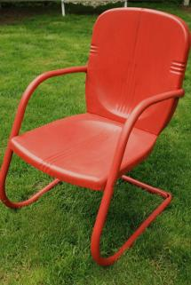 Set Of Four Painted Metal Vintage Patio Garden Chairs