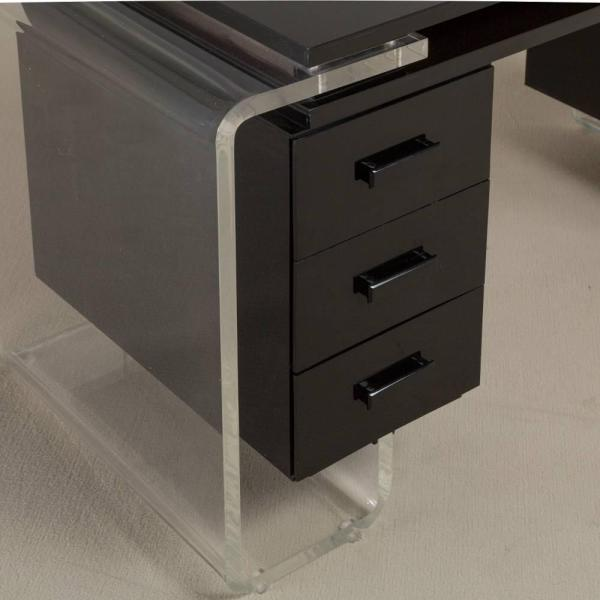 Large Black And Clear Lucite Vanity Table Desk 1980s