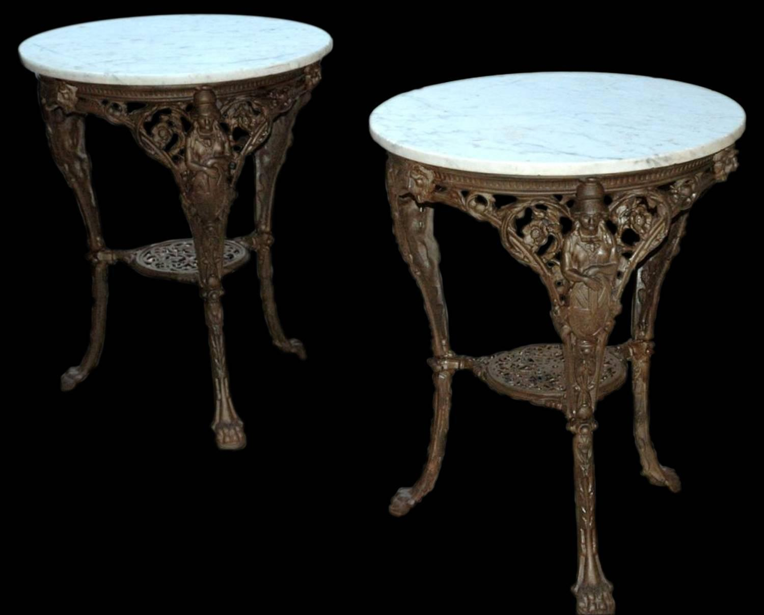 cast iron table and chairs perth round dining chair french marble garden tables for sale at 1stdibs