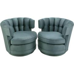 Barrel Swivel Chairs Upholstered How To Make A Chair Mat For Carpet Pair Of Cadet Blue Wool Felt Button Tufted