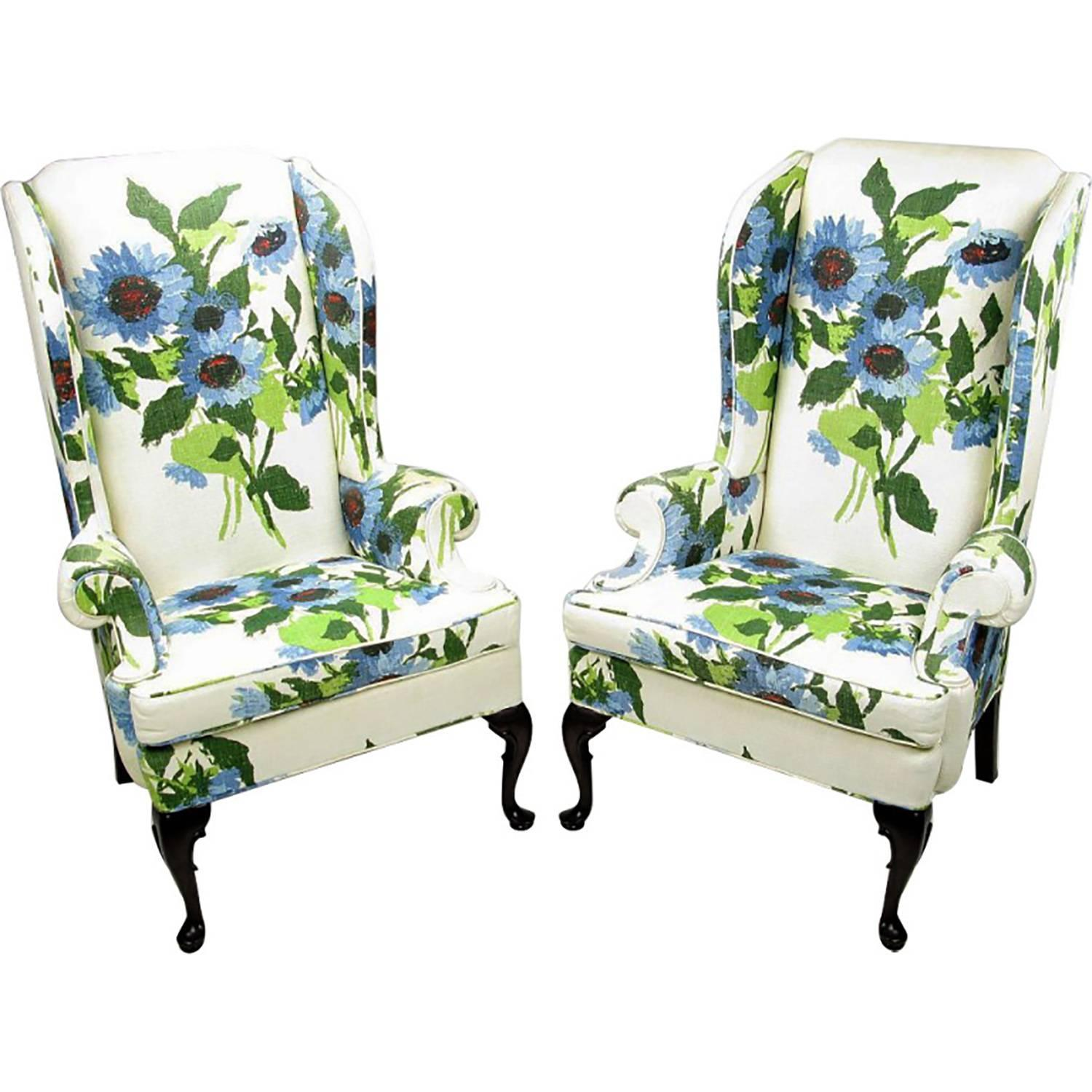 Flower Chair Pair Of Elegant And Bold Floral Linen Upholstered Wing