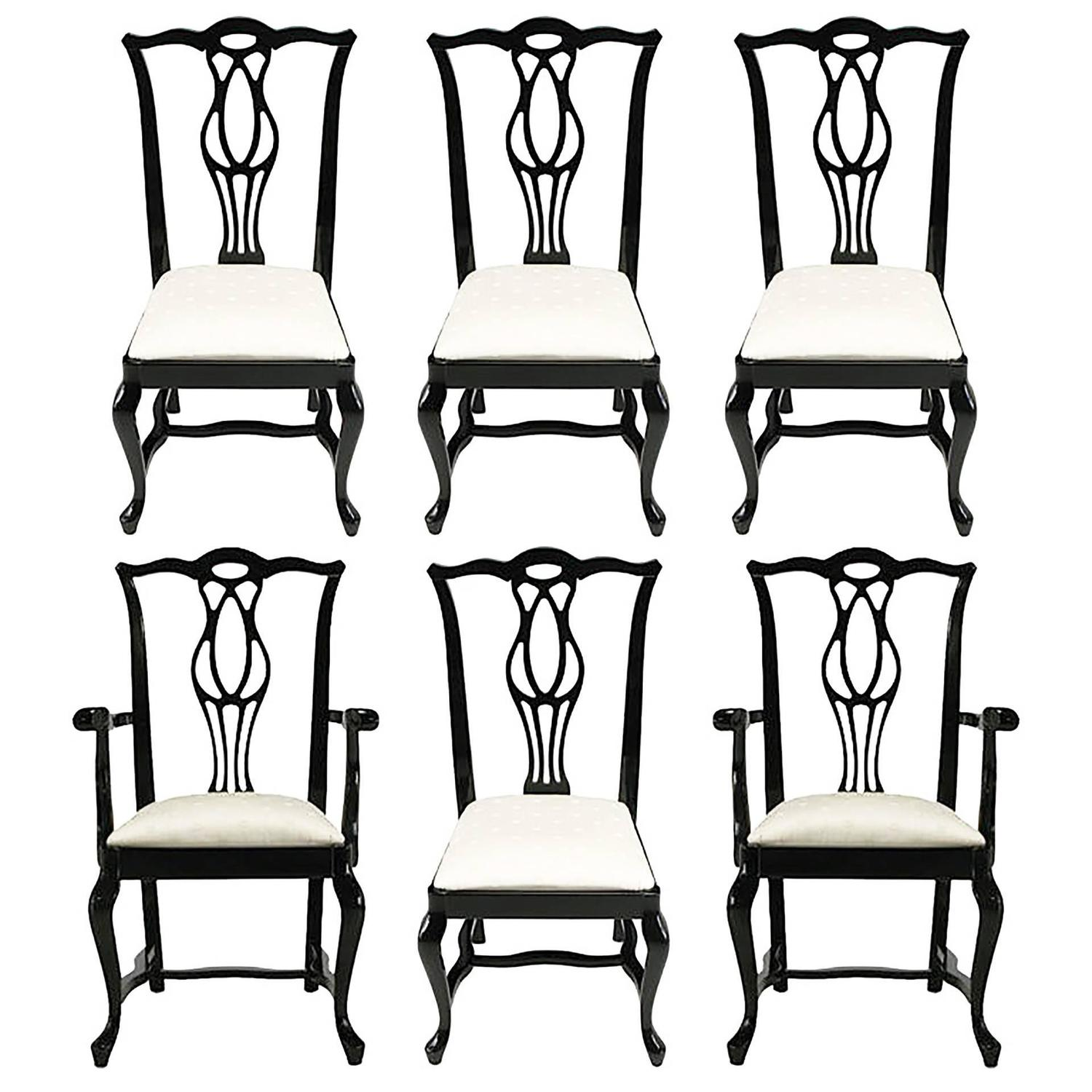henredon asian dining chairs wood deck six italian black lacquer chinese chippendale