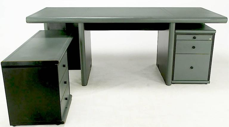 Mariani for Pace GreyGreen Leather Executive Desk and