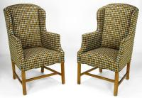 Pair of 1940s Wing Chairs in Colorful Overscaled