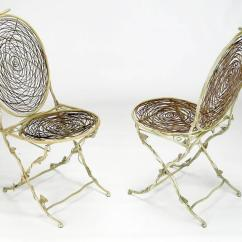 Birds Nest Chair Antique High Rocker Value Four Iron Faux Bois Folding Chairs With Bird Seats