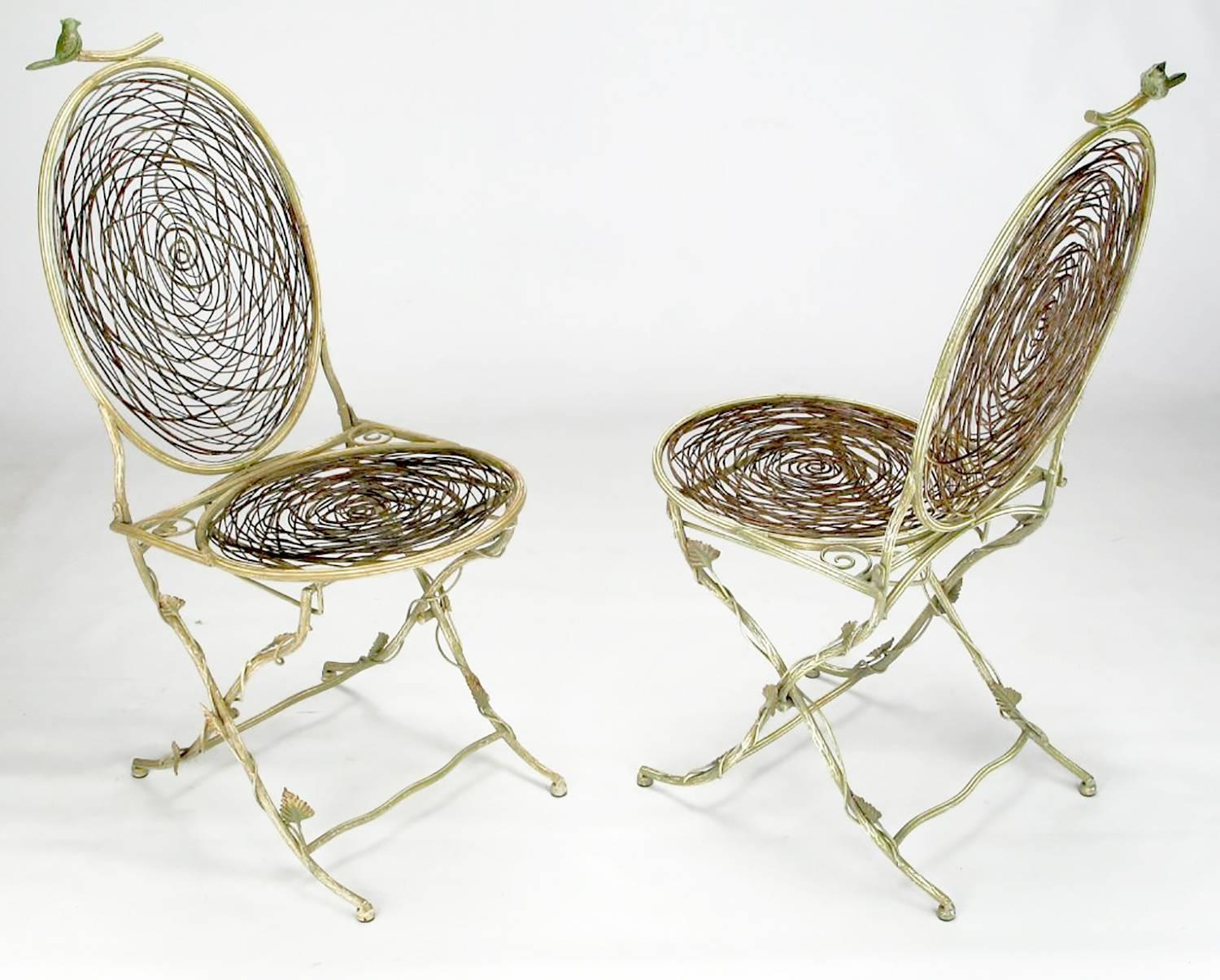 Bird Nest Chair Four Iron Faux Bois Folding Chairs With Bird Nest Seats