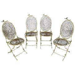 Birds Nest Chair Flight Recliner Review Four Iron Faux Bois Folding Chairs With Bird Seats