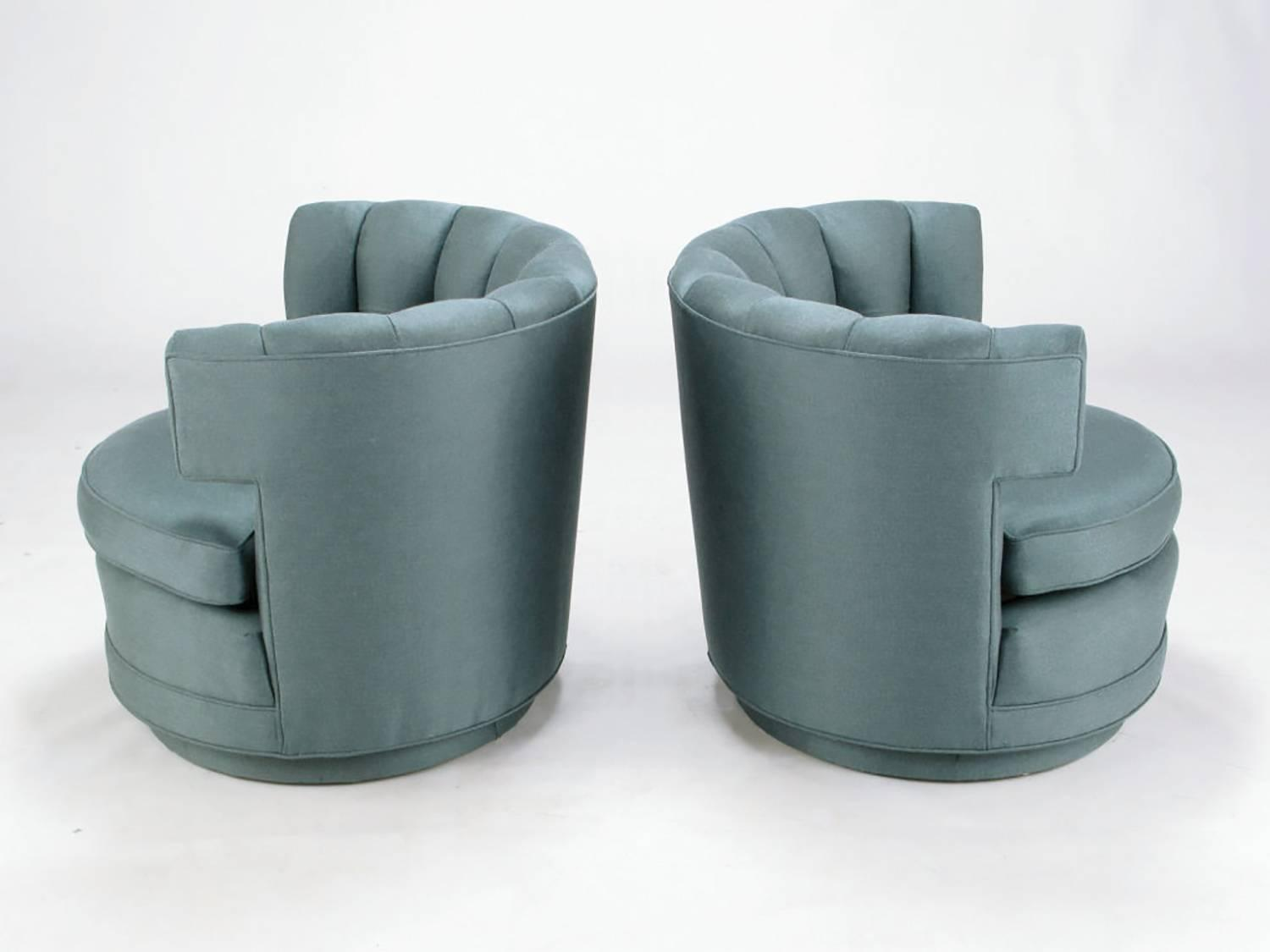 barrel swivel chairs upholstered cafe metal pair of cadet-blue wool felt button-tufted for sale at 1stdibs