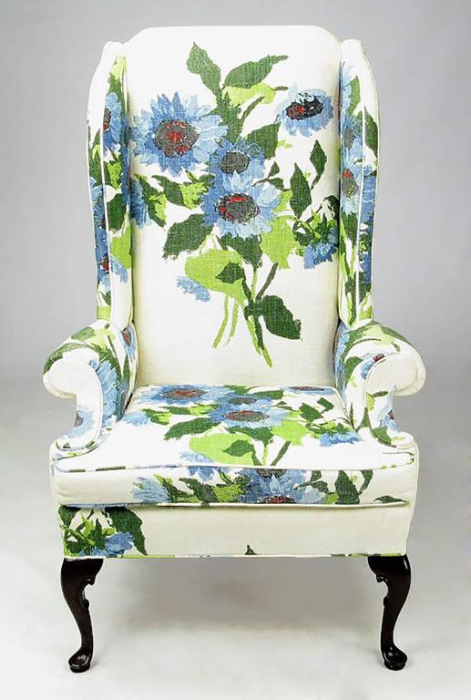 Pair of Elegant and Bold Floral Linen Upholstered Wing