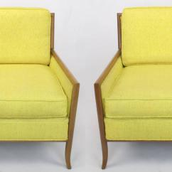 Yellow Club Chair Office Disassembly Pair Of Walnut And Haitian Cotton Lounge Chairs
