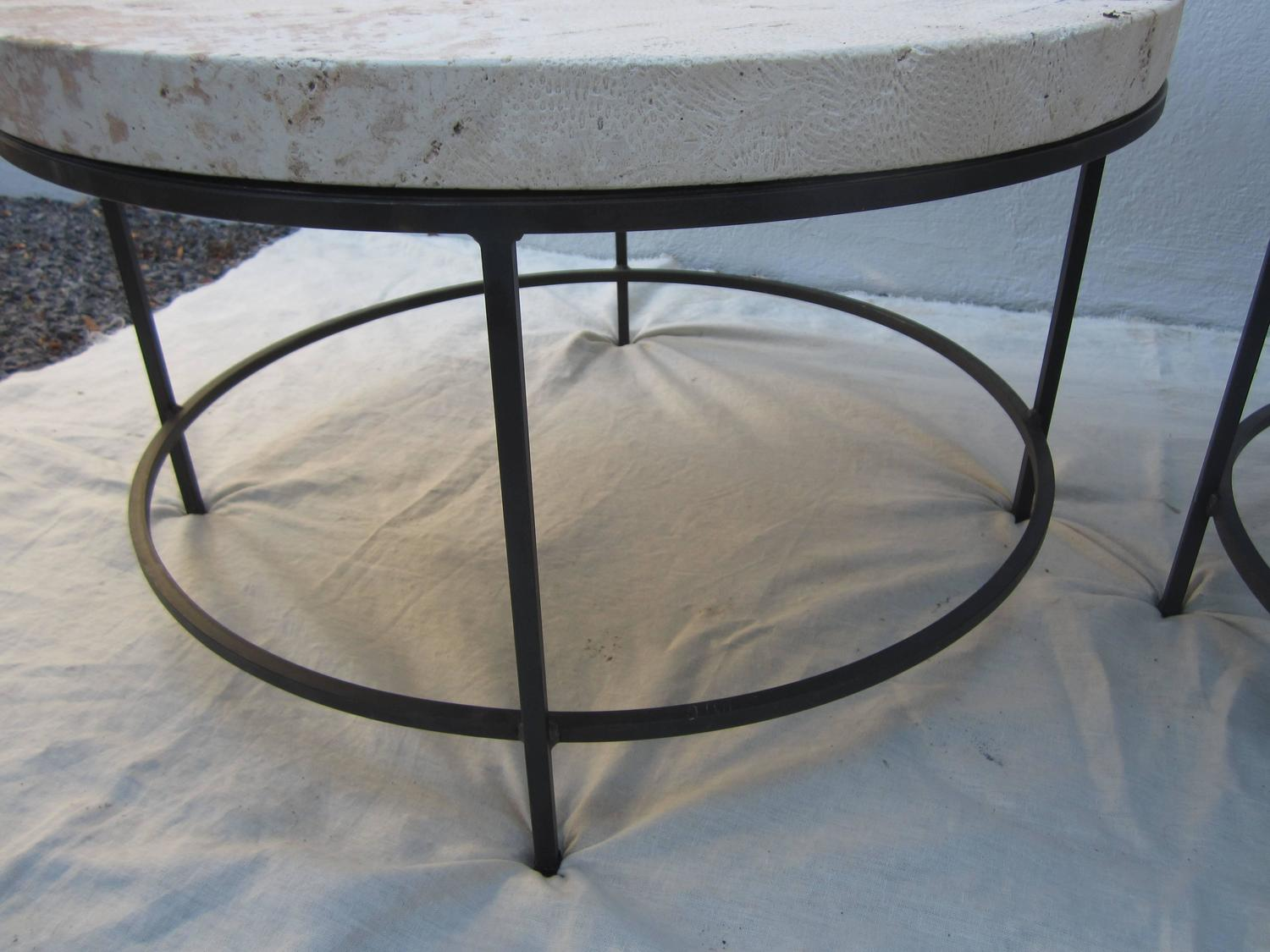 Modern Limestone Round Cocktail Or Side Tables For Sale At
