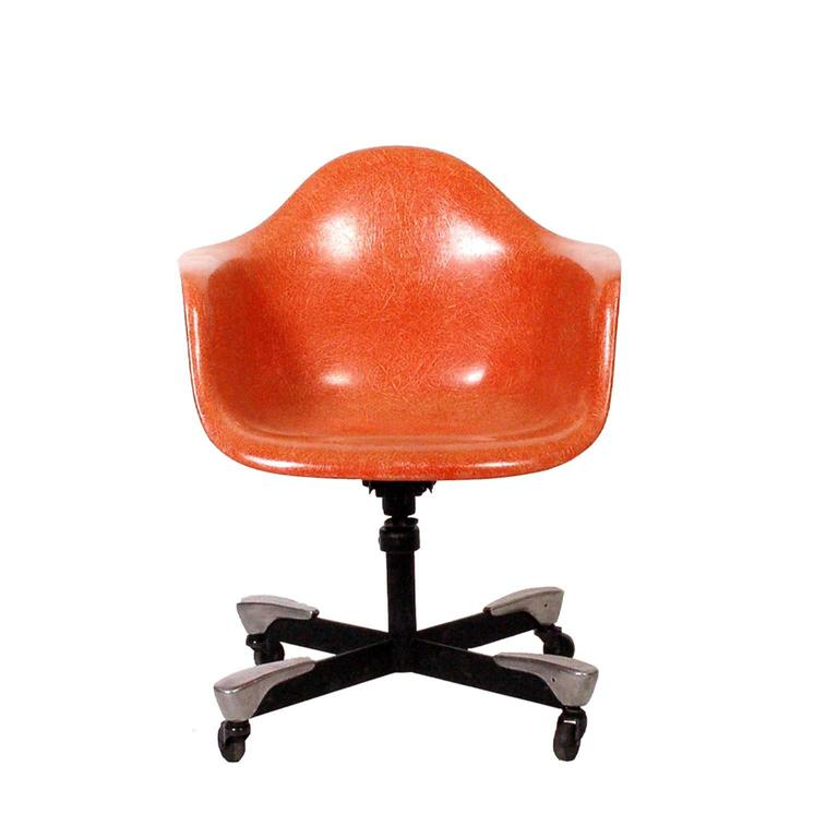 desk chair made liberty london dining chairs charles eames dat for herman miller 1953 at 1stdibs molded fiberglass arm shell aluminum and enameled steel base with casters tilt swivel