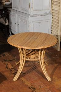 French Mid-Century Rattan Round Side Table with Lower ...