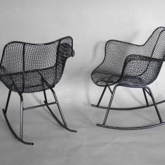 Wrought Iron Rocking Chair The Is Against Wall T Shirt Pair Of Woodard Chairs At 1stdibs