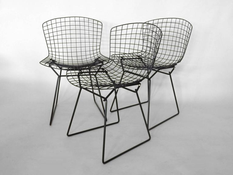 black wire chair flight simulator six harry bertoia for knoll dining chairs at 1stdibs
