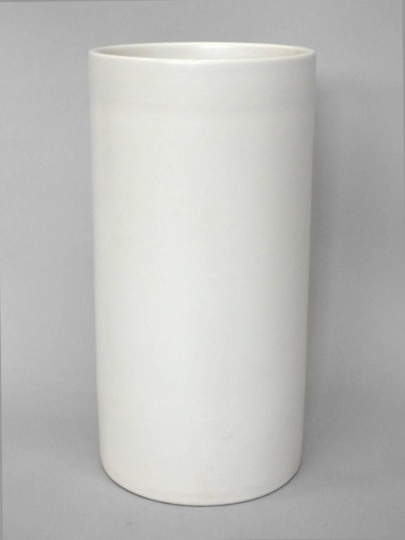 Matte White Gainey Planter Pot on Rare Tall Cylinder Base