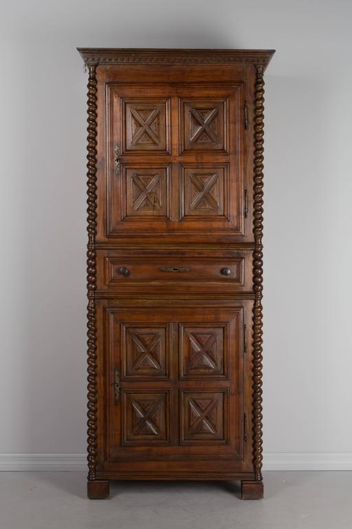 19th century louis xiv style homme debout or tall narrow armoire made of solid