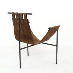 Sling Chairs For Sale Milk Carton Adirondack Iron And Saddle Leather Chair At 1stdibs