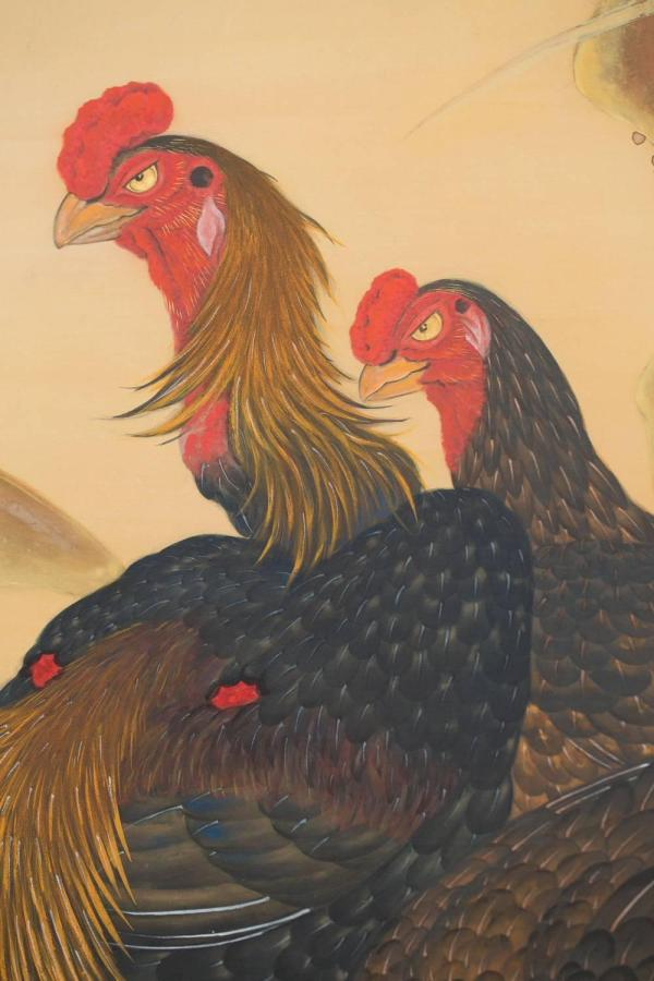 Japanese Two Panel Screen Chickens Shamo Breed