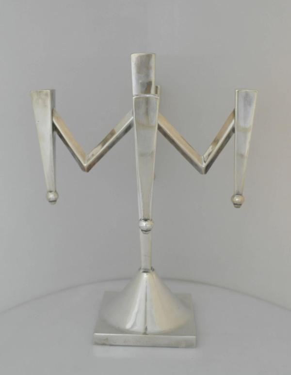 Large Sterling Silver Modernist Five-light Candelabra