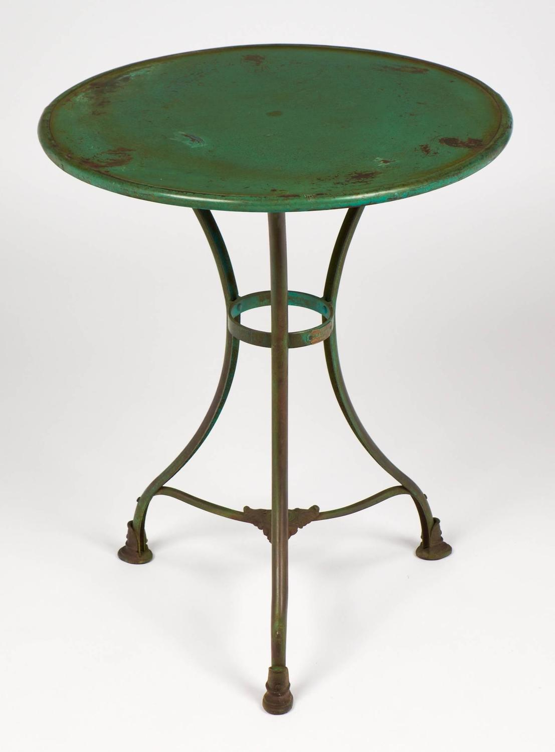 green french bistro chairs global upholstery chair parts hammered iron table for sale at 1stdibs