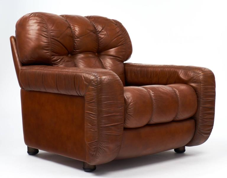 Overstuffed Armchairs For Sale French Vintage Overstuffed Leather Club Chairs At 1stdibs