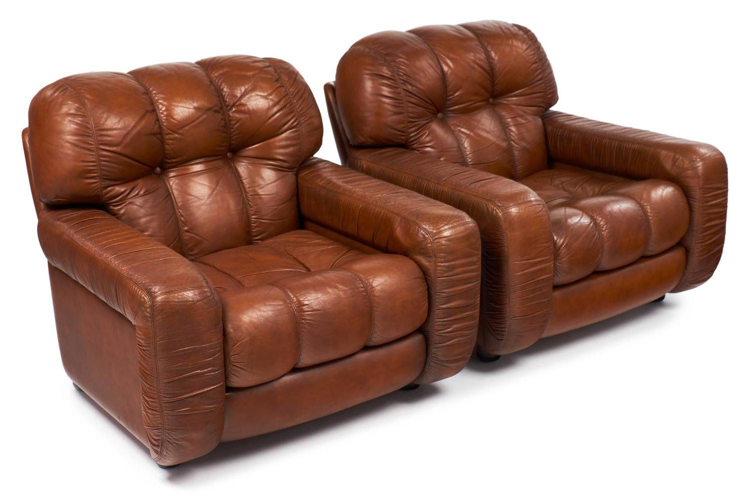 Overstuffed Leather Club Chair