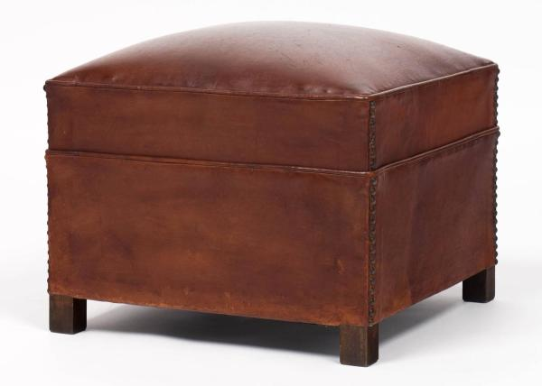French Vintage Leather Ottoman at 1stdibs
