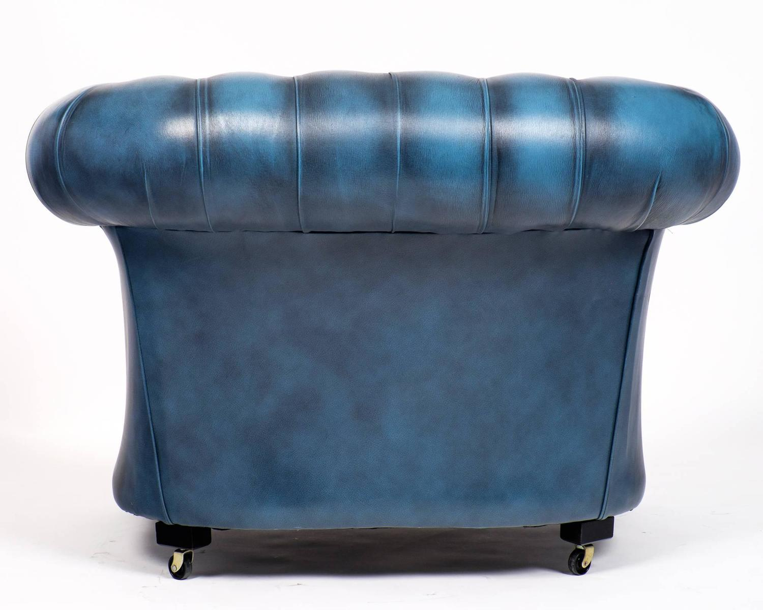 Blue Leather Club Chair Vintage Steel Blue Leather Chesterfield Club Chair At 1stdibs