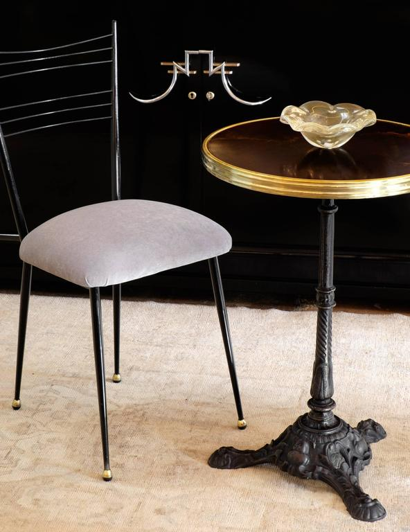 antique french bistro table and chairs oversized adirondack parisian at 1stdibs with a beautiful cast iron base altuglas top brass trim