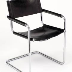 Marcel Breuer Chair Wheel In Olx Black Leather And Tubular Chrome Steel