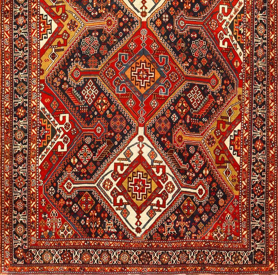 Burgondy Tribal Antique Persian Qashqai Rug at 1stdibs