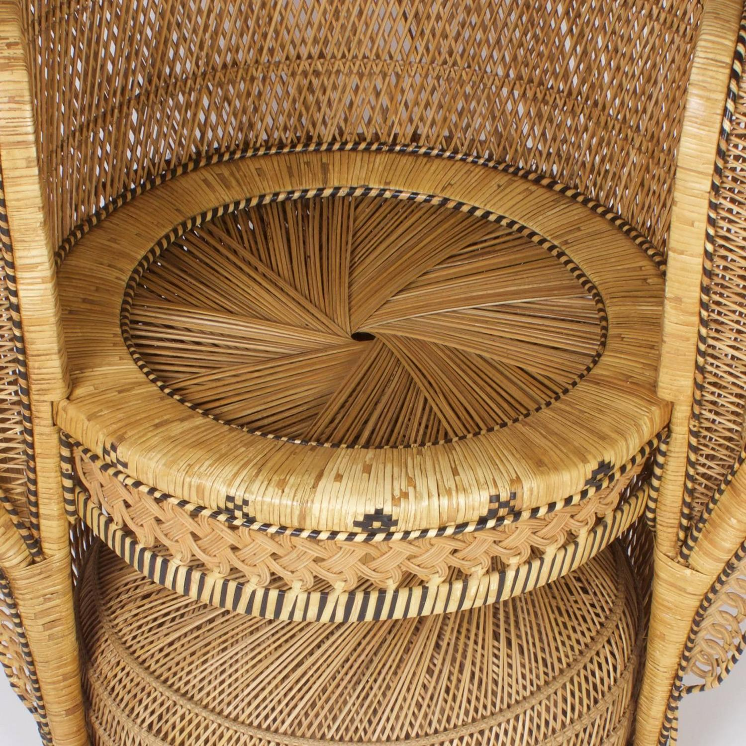 rattan peacock chair crushed velvet high back covers vintage for sale at 1stdibs