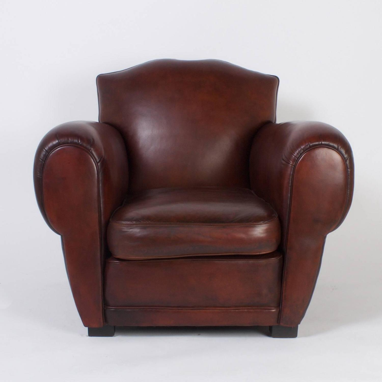 art deco club chairs leather carrington court parsons pair of brown for sale at 1stdibs