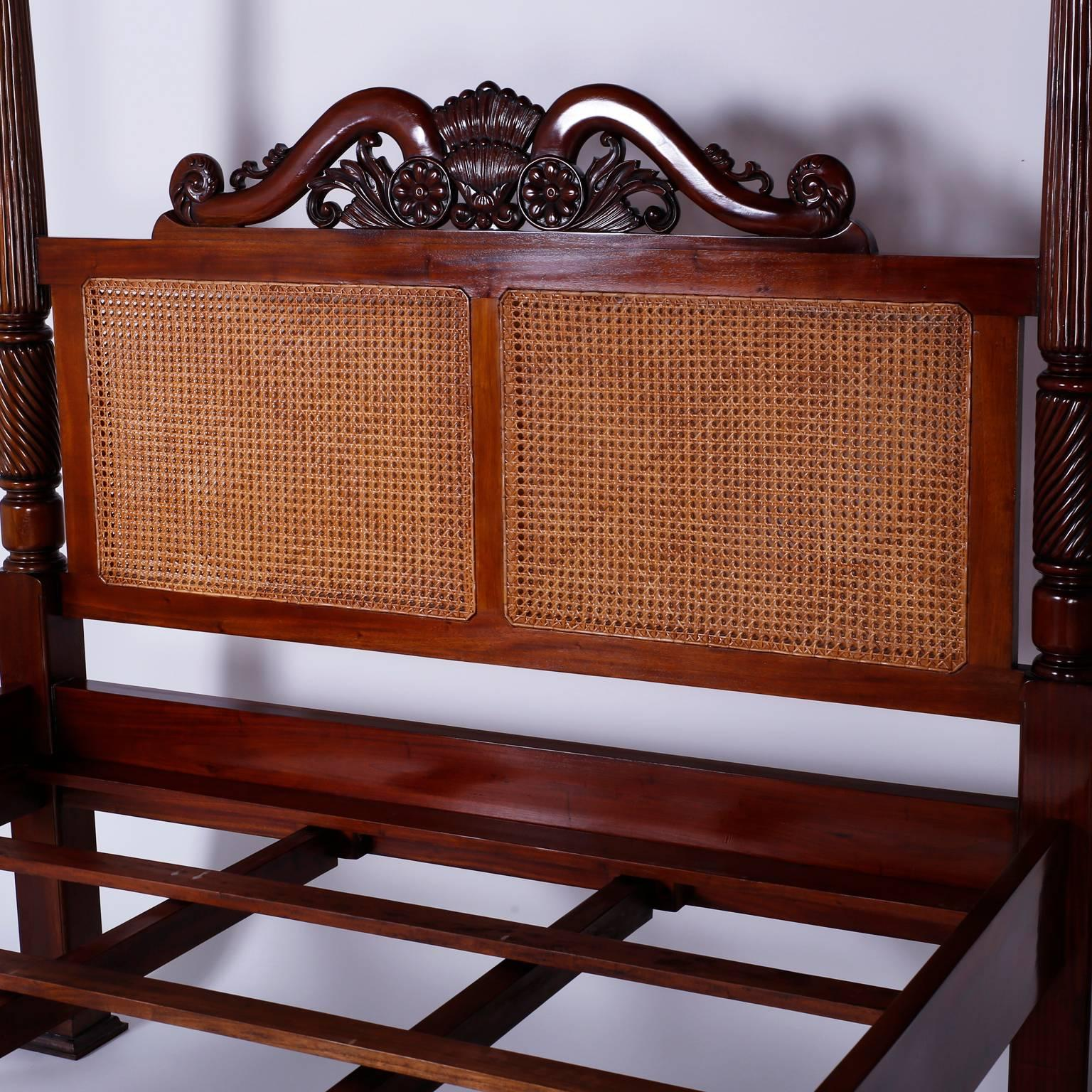 British Colonial West Indies Queen Size Canopy Bed For