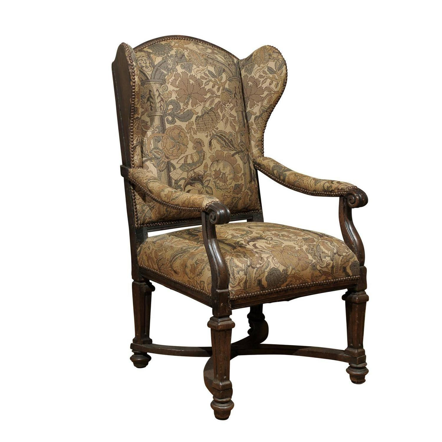 Used Wingback Chairs 18th Century English Upholstered Wingback Chair For Sale