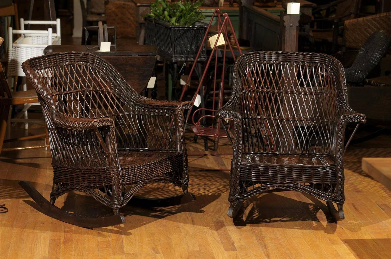 heywood wakefield dogbone chairs the emperor chair pair of wicker rockers at 1stdibs