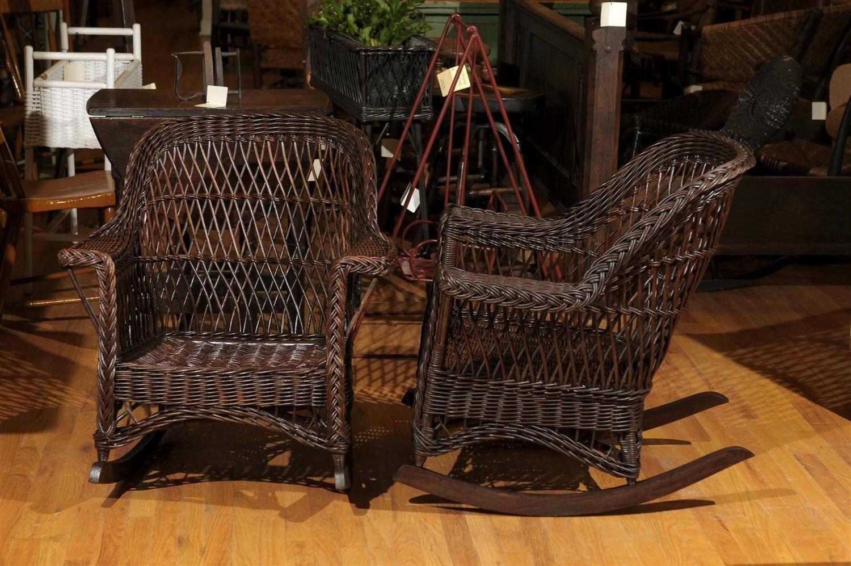 heywood wakefield wicker chairs zanui hanging chair pair of rockers at 1stdibs