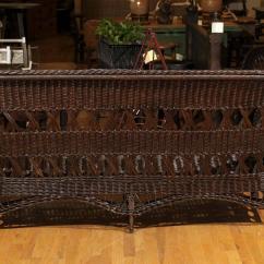 Heywood Wakefield Wicker Chairs Swing Net Chair Signed Sofa Circa 1910 For Sale