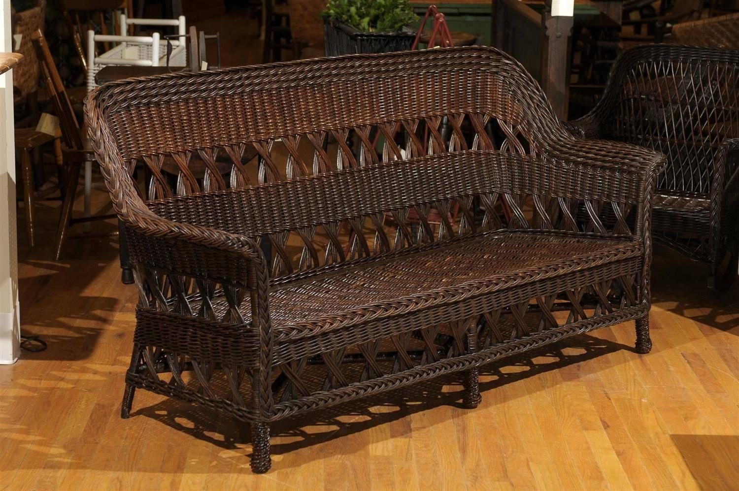 heywood wakefield wicker chairs rattan rocking chair signed sofa circa 1910 for sale