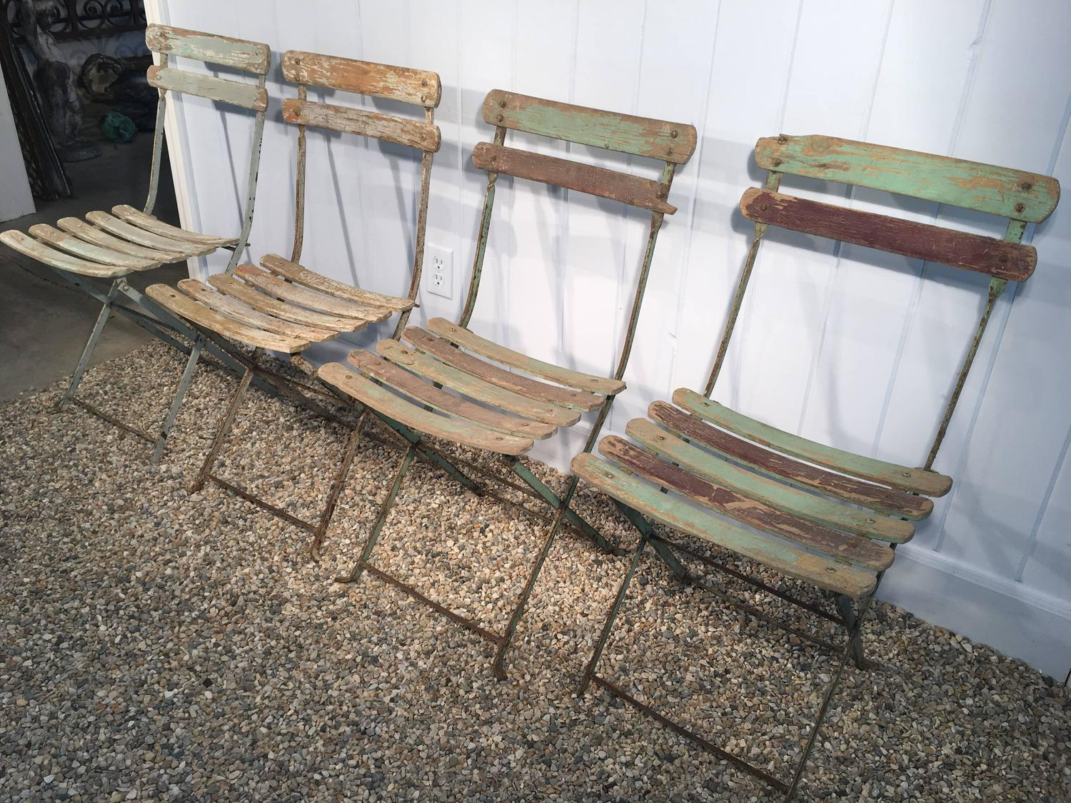 green french bistro chairs risom lounge chair set of four painted wood and iron folding