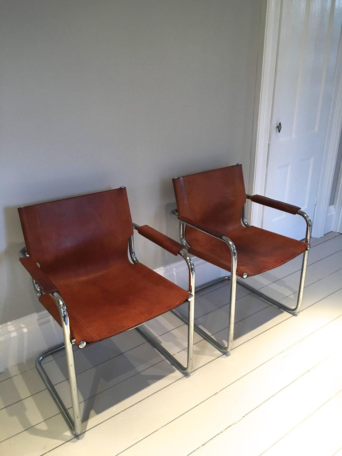 mart stam chair gaming with footrest pair of style cantilevered leather and chrome